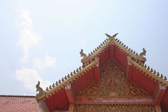 The roof of aranyaram temple ,Lamphun,Thailand. Close up The roof of aranyaram temple ,Lamphun,Thailand stock photos