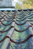 Roof tiles on old house closeups. Close-up of roof boilers on old house, pictures on time to renovate, companies selling home goods. Macro photo, color neutral stock photos