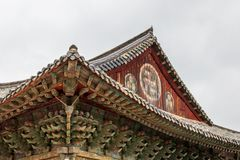 Close up of roof of korean buddhistic Bulguksa Temple on a clear day. Located in Gyeongju, South Korea, Asia royalty free stock photo