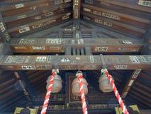 Close up of the roof of the Namiyoke Inari Jinja Shrine in Tokyo, Japan. TOKYO, JAPAN - 11th JULY 2018 : Close up picture of the the bottom of the roof of the royalty free stock image
