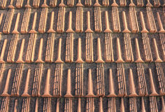 Close-up of roof tiles. Roof tiling. Royalty Free Stock Image