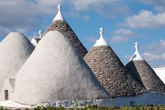 Cisternino. Close up of roof of traditional conical roofed Trullo house in the area of Cisternino / Alberobello in Puglia Italy