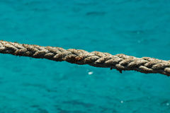 Close up of rope at the Blue Lagoon, Comino, Malta. Rope at the Blue Lagoon located in Comino in Malta Stock Images
