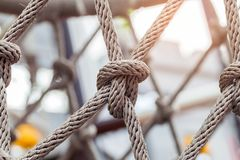 Close-up of rope knot line tied together. With playground background.selective focus Stock Images