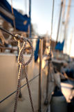 Rope with knot on yacht Royalty Free Stock Photo