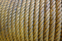 Close Up Rope Roll on the Post Texture Background Stock Image