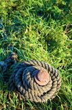 Close-up of a rope and rusty iron spike tie down Stock Photography