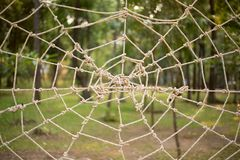Close up Rope tie make to Spider web gossamer on the park Stock Image