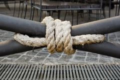 Close up of a rope tied onto terrace Royalty Free Stock Image