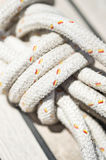 Close-up of rope on yacht Royalty Free Stock Photography