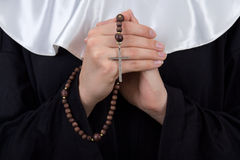 Close up of rosary in nun hands Royalty Free Stock Photography