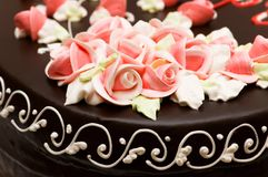 Close up of rose decoration. On the cake Stock Photo