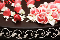 Close up of rose decoration on the cake Royalty Free Stock Photo
