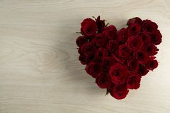 Rose flower bouquet on wooden table. Close-up of rose flower bouquet on wooden table stock photos
