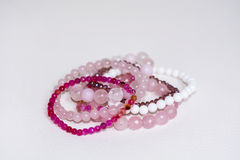 Close up of Rose quartz bracelets Royalty Free Stock Photos