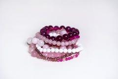 Close up of Rose quartz bracelets Royalty Free Stock Image