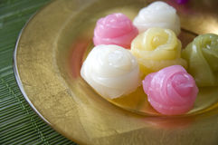 Close up roses dessert. Close up Thai traditional dessert in roses shape Stock Photo