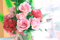 Close up of roses flowers bouquet decorated in home interior wit Royalty Free Stock Images