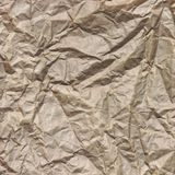Close-up Of Rough Brown Wrinkled Packaging Paper Square Texture Stock Image
