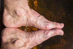 Close up of rough feet with veins, reflection in water outdoors. Stock Images