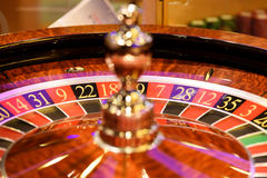 Close up of roulette in casino, selective focus Royalty Free Stock Photos
