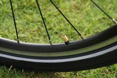 Open valve a round rubber capacity of bicycle tires stock photo