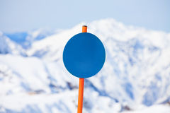 Close-up of round shaped attention sign in winter Royalty Free Stock Photos