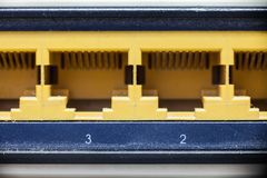 Close-up Router network hub without patch cables.  Stock Photography