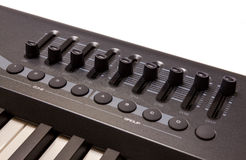 Close-up of a row of faders on a MIDI controller Stock Photography