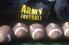 Close-up of row of footballs and Army Football logo, Michie Stadium, NY Stock Photo