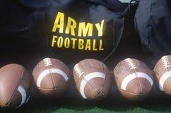 Close-up of row of footballs and Army Football logo, Michie Stadium, NY Stock Photo