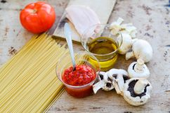 Italian   pasta ingredients Royalty Free Stock Photography
