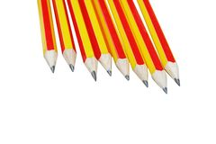 Close up row of pencil red and yellow alternating. Isolated on white background stock photo