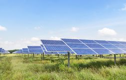 Polycrystalline silicon solar cells or photovoltaic cells in solar power plant station stock images