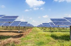 Polycrystalline silicon solar cells or photovoltaic cells in solar power plant station royalty free stock images
