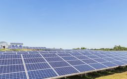 Close up rows array of polycrystalline silicon solar cells or photovoltaic cells in solar power plant station. Turn up skyward absorb the sunlight from the sun stock images
