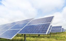 Close up rows array of polycrystalline silicon solar cells or photovoltaics cell in solar power plant station stock images