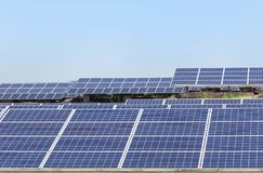 Close up rows array of polycrystalline silicon solar cells or photovoltaics in solar power plant royalty free stock image