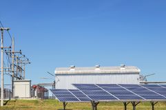 Close up rows array of solar cells or photovoltaics in solar power plant systems royalty free stock image