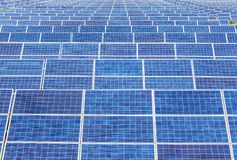 Close up rows array of solar cells or photovoltaics in solar power plant systems stock photography