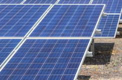 Close up rows array of solar cells or photovoltaics in solar power station convert light energy from the sun. Into electricity alternative renewable clean stock photos