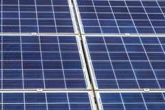 Close up rows array of solar cells or photovoltaics in solar power station convert light energy from the sun. Into electricity alternative renewable clean royalty free stock photos