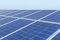 Close up rows array of solar cells or photovoltaics in solar power station convert light energy from the sun. Into electricity alternative renewable clean royalty free stock image