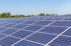 Close up rows array of solar cells or photovoltaics in solar power station convert light energy from the sun. Into electricity alternative renewable clean stock image