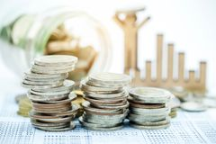 Close up of rows coins for finance. And banking concept Stock Image