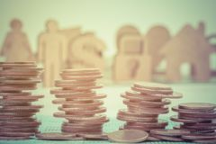 Close up of rows coins for finance. Selective focus Stock Photography