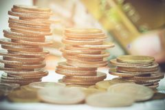 Close up of rows coins for finance. Close up of rows coins.selective focus Royalty Free Stock Images