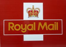 Royal Mail sign logo. A close up of the Royal Mail logo sign taken from the side of a lorry Stock Images