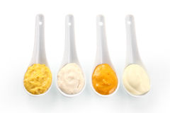 Close up Rub and Marinade Pastes on Spoons Stock Image