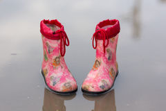 Close-up of rubber boots in a puddle on a rainy day. Pair of rubber boots in a puddle Royalty Free Stock Photography